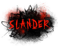 Slander Typography Illustration. With black paint smear and red spatter Stock Photos