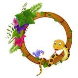 Slang en vogel op rond houten kader met bloem royalty-vrije illustratie