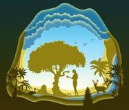 Slang en Vooravond Tuin van Eden De Val van de Mens Document art. stock illustratie