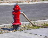 Slang met rode brandkraan wordt verbonden die stock fotografie