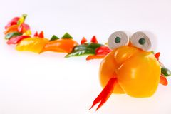 Slang van groene paprika wordt gesneden die Royalty-vrije Stock Foto