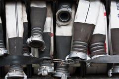 Slangen van brandvrachtwagen Stock Foto