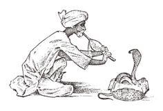 Slangenbezweerder de mens die de fluit spelen voor hypnotiseert cobra in India Goochelarij pungi voor adders getrokken hand en vector illustratie
