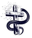 Slangomslagen rond Christelijk kruis, de strijd tussen goed en kwaad, het symbolische heilige en zondaar, liefde en haat, leven e vector illustratie