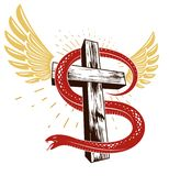 Slangomslagen rond Christelijk kruis, de strijd tussen goed en kwaad, het symbolische heilige en zondaar, liefde en haat, leven e royalty-vrije illustratie