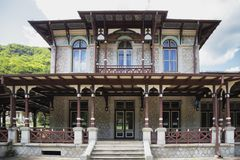 Details of old casino and castle hotels, in Slanic Moldova, Romania