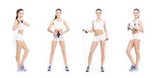 Slank en slank meisje in een sportconcept Sport, fitness, gewichtsverlies, lichaamsverzorging en traininginzameling stock afbeeldingen