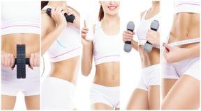 Slank en slank meisje in een sportconcept Sport, fitness, gewichtsverlies, lichaamsverzorging en traininginzameling stock foto's