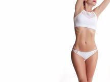 Slank en sportief vrouwelijk lichaam, succesvol gewichtsverlies stock foto's