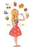 Slank flicka som äter sädesslag roligt tecknad filmtecken stock illustrationer