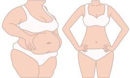 slank kvinna för fett Fotografering för Bildbyråer