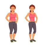 slank kvinna för fett också vektor för coreldrawillustration Arkivbild