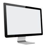 Slank LEDD datorbildskärm med den tomma skärmen på vit Arkivbild