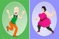 Slank man- och fettkvinna Royaltyfri Bild