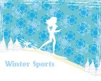 Slank meisje die, abstracte kaart ski?en Stock Foto's