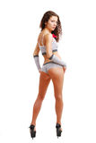 Slank meisje in stip erotische kleren. Royalty-vrije Stock Foto