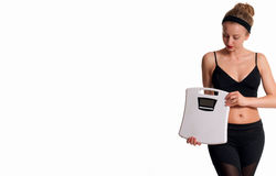 Slank och sportig kvinnlig kropp, lyckad viktförlust arkivfoton