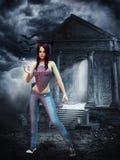 Slank purper haired vampiermeisje stock illustratie