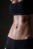 Slanka kvinnas kropp över mörker - grå bakgrund Arkivbilder