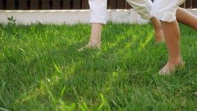 Slanka moder- och pysben går barfota på grön gräsmatta stock video