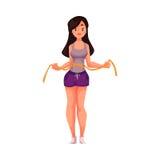 Slanke jonge vrouw die in goede vorm meten met een band stock illustratie