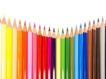 Slanke kleurpotloden concave regeling Stock Foto's