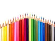 Slanke kleurpotloden convexe regeling Stock Fotografie