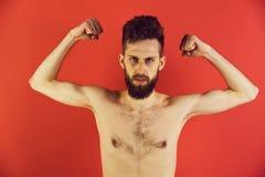 slanke mens of gebaarde hipsterkerel met anorexie royalty-vrije stock fotografie