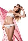 Slanke sexy geïsoleerde vrouw in swimwear met stof Stock Afbeeldingen