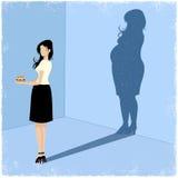 Slanke vrouw die vette vrouwenschaduw gieten stock illustratie