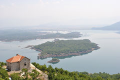 Slansko Lake near Niksic, Montenegro. Summer view of the Slansko Lake with islands near Niksic town, Montenegro Royalty Free Stock Photo