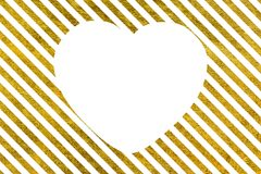Slanted Golden lines with big white heart Royalty Free Stock Image