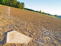 Slanted Home Plate. View from homeplate to the pitcher's mound Royalty Free Stock Photography