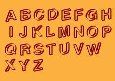 Slanted Outline Vector Font Design Stock Images
