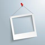 Slanted Photo Frame Thumbtack. White photo frame on the gray background royalty free illustration