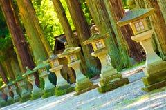 Slanted Stone Shrine Lanterns Footpath Day Trees Stock Image