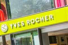 A slanting close up view of the Yves Rocher storefront on the Champs Elysees. Paris, France - July 14, 2014: A slanting close up view of the Yves Rocher Royalty Free Stock Photo
