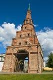 Slanting muslim red brick tower. Suyumbike tower in Kazan Kremlin, Russia Royalty Free Stock Photo