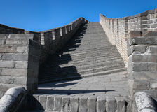 Slanting steps at Great Wall of China Royalty Free Stock Photography