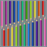 Slanting Two-side Line of Colorful Realistic Pencils. Stock Photo