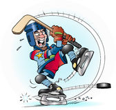 Slap shot in hockey Royalty Free Stock Images