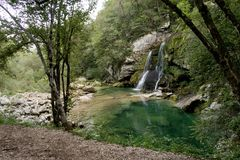 Slap Virje - a waterfall near Bovec in Julian Alps Stock Images