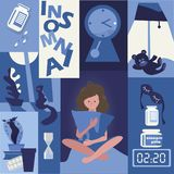 slapeloosheid probleem van slaap het meisje houdt een hoofdkussen Slaappillen royalty-vrije illustratie