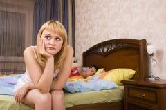Slapeloosheid. Problemen in Bed Royalty-vrije Stock Afbeeldingen