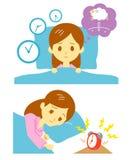 Slapeloosheid, slapeloosheid, vrouw Stock Fotografie