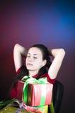 Slaperig bij Kerstmis Stock Foto's