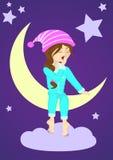 Slaperig meisje op de maan Royalty-vrije Stock Afbeeldingen
