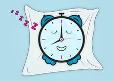 Slaperige gelukkige wekker op Kussen stock illustratie