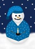 Slaperige Sneeuwman royalty-vrije illustratie