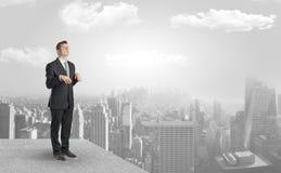 Slaperige zakenman op de bovenkant van de stad stock afbeeldingen